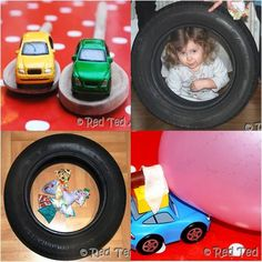 Games from a family's car-themed birthday party for preschoolers.   Using tires as decor in the room is a neat idea, too!