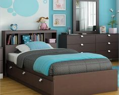 teen room, Modern Blue Bedroom With Relaxing Look Book Case Chest Of Drawer Picture Frame Glass Pilow Duvet Cover Wooden Floor Carpet Small Table Bedroom Interior Design Ideas Blue Bedroom Design Interior Curtain: Marvellous Modern Blue Bedrooms