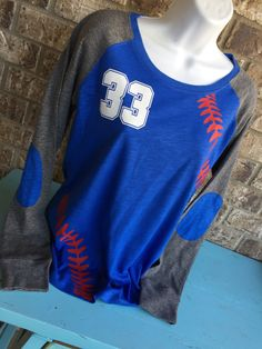 Baseball Laces T-Shirt with on front Customize by MamaGlitter
