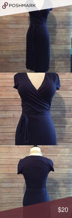 Old Navy Wrap Dress - Medium TALL Navy blue wrap dress from Old Navy. Sized medium tall. This is a true wrap dress with an open front and a long belt that you tie the dress closed with yourself, so it would also fit smaller sizes with some adjusting. Length is 31 from armpit to hemline. Old Navy Dresses
