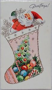 50s Mid Century Santa- Pink Glittered Stocking- Vtg Christmas Greeting Card