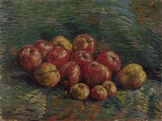 Look at the beautiful complementary colours in 'The Apples' by Van Gogh! Read more about Vincent's use of colour in the story on our website: http://www.vangoghmuseum.nl/en/looking-for-contrast   Vincent van Gogh (1853 – 1890), The Apples, 1887, Van Gogh Museum, Amsterdam (Vincent van Gogh Foundation)