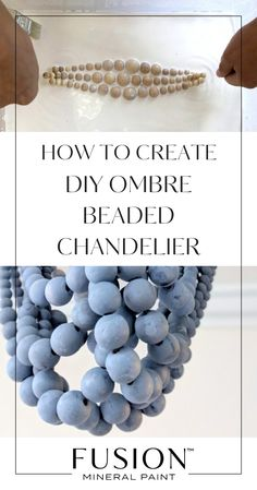 Chandeliers, Wood Bead Chandelier, Diy Light Fixtures, Diy Ombre, Diy Porch, Handmade Lamps, Beaded Garland, Mineral Paint, Wooden Diy