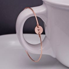Rose Gold Bangle Bracelet - Personalized 14k Pink Gold Filled Initial Bangle Bracelet by georgiedesigns