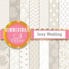 Ivory wedding digital paper 'Ivory Wedding' patterned white and ivory backgrounds off white, cream x 14