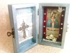 Pocket Shrines - paint a mini box adding holy card and decorations. Great children's project! For the virtue of Piety, I think! :)