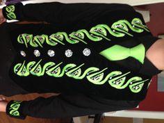 Celtic Star black velvet vest, stunning green designs with Swarovski crystals,  cuffs and tie