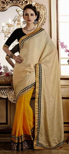 164450: Beige and Brown, Yellow color family Embroidered Sarees, Party Wear Sarees with matching unstitched blouse.