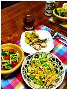おいしくできたー♡ - 2件のもぐもぐ - 春野菜の豆乳カルボナーラ、ローズマリーの鶏ハム、新ジャガバター、サラダ by chirarhythm