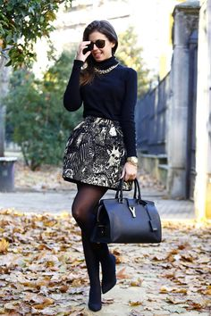 Black And White Printed A-skirt