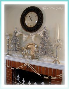 1b Happy New Year Mantel and Banner - Fox Hollow Cottage