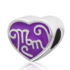 Amazon.com: Charmstar Purple Mom Heart Charm 925 Sterling Silver Mother Love Beads for European Brand Bracelet: Sports & Outdoors