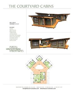 The Courtyard Cabin. I am gobsmacked with joy. I doodle house plans based on a triangle theme all the time and had no idea somebody really built them! This is from Purcell Timber Frames, prefab homes or custom design Building A Container Home, Container Buildings, Container Architecture, Architecture Design, Container Cabin, Container Design, Timber Frame Cabin, Timber Frames, Casas Containers