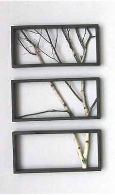 DIY - Tree Branch Art- This is what I would like to do with the curly willow from our wedding! Take it and frame it in a fun design that will be incorporated with the decor in the living room...ok...now that you know my vision you can create something fabulous like you always do! love ya!