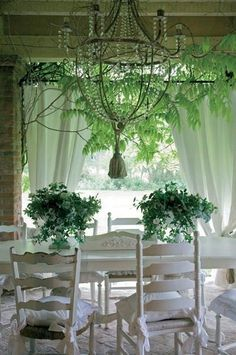 All Things Shabby and Beautiful/ Breathtaking white and green inside outside dining.