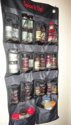 A new spice rack!  Thirty-one Hang-Up Space Saver in black cross pop red #19 embroidery.