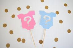 Gender Reveal Cupcake Toppers Pink & Blue Cupcake Toppers