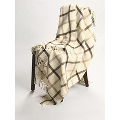 Johnstons of Elgin Alpaca-Lambswool Throw Blanket - Limited Edition, Windowpane Plaid - cream, beige & dark brown (or black?) - clearance price, $80 plus receive a 30% discount when you sign up for their email list - Sierra Trading Post