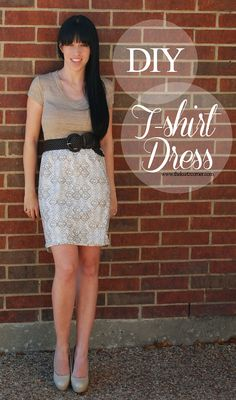 DIY T-Shirt Dress tutorial from The Kurtz Corner! Get a head start on your spring/summer wardrobe and make your own t-shirt dress!! Only 13 dollars!