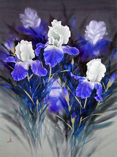 Royal Irises by David Lee, Watercolor, Watercolor on Silk Iris Flowers, Beautiful Flowers, Beautiful Things, Watercolor Flowers, Watercolor Paintings, Watercolors, David Lee, Flower Artwork, Silk Painting