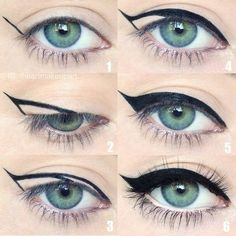 For a quick trick to get a perfect cat eye, draw an acute triangle from the middle of your lid outward and fill it in. | 15 Game-Changing Eyeliner Charts If You Suck At Makeup