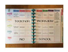 Happy Planner Teacher Edition-Template by Teaching Across the Spectrum Planner Layout, Planner Pages, Planner Ideas, Happy Planner Teacher Edition, Teacher Lesson Planner, Teacher Binder, Teacher Signs, Teacher Organization, Organizing