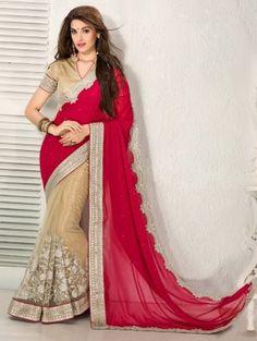 Red And Cream Chiffon Saree With Zari Embroidery Work