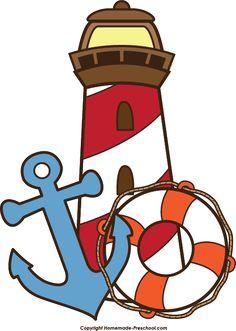 lighthouse-faro Leuchtturm Phare Sea Mar See Mer anchor-life-preserver. School Themes, Classroom Themes, Lighthouse Clipart, Lighthouse Art, Nautical Clipart, Nautical Party, Ocean Themes, Cartoon Images, Easy Drawings