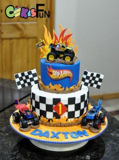 Hot wheels cake by Cakes For Fun Hotwheels Birthday Cake, Monster Truck Birthday Cake, 3rd Birthday Cakes, Race Car Birthday, Cars Birthday Parties, Hotwheels Party Ideas, Monster Jam Cake, Birthday Ideas, Bolo Hot Wheels