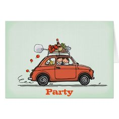 Invitation Greeting Card Vintage Fiat 500 Kaart