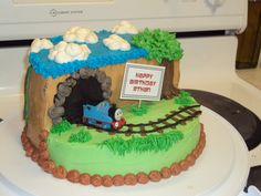 Thomas the train Birthday Cake.  Pretty easy to make with 2 8in. rounds.