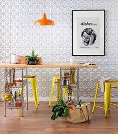 Pressed Metal Wall Silver Kitchen In 2019 Living Room Designs Tin Walls, Metal Walls, Kitchen Interior, Kitchen Design, Metallic Wall Tiles, Real Living Magazine, Pressed Metal, Smart Storage, Diy Table
