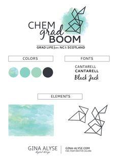Design Launch: ChemGradBoom | Blog Branding, Logo + Digital Design with watercolor and geometric elements
