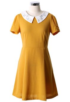 Daisy Peter Pan Collar Dolly Dress in Mustard - Dress - Retro, Indie and Unique Fashion