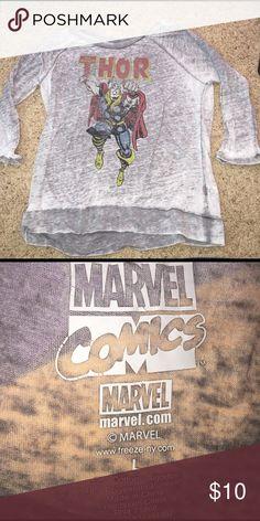 Marvel Comics Thor burnout long sleeve Marvel comics Thor burnout 3/4 long sleeve shirt. Dark and light gray coloring. Worn couple of times like new condition. Purchased from Kohls Marvel Tops Tees - Long Sleeve