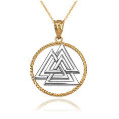 LA BLINGZ 10K Two-Tone Yellow Gold Eastern Orthodox Cross Pendant Necklace
