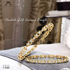 Sweet and Spontaneous Love with these ♥ Diamond Bracelets, Gold Bangles, Jewelry Bracelets, Hand Jewelry, India Jewelry, New Jewellery Design, Jewelry Patterns, Jewelery, Diamonds