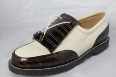 Stuart Weitzman Womens Cream Tortoise Shell leather Gortex Golf Shoes Sz. 8 B #StuartWeitzman