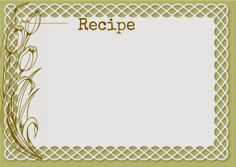 Free-download Recipe cards with matching food labels and place-cards