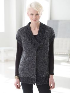 Knit this soft plush cardigan vest made with Will-Ease Thick & Quick and Homespun Thick & Quick for a dress-to-impress look for an interview or day at the office.