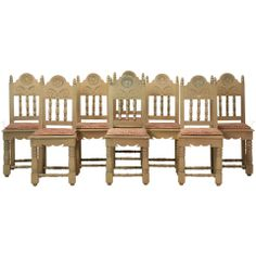 Amazing Set Of Eight Vintage Painted Spanish Colonial Side Chairs