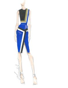 "J. Mendel Fall 2014 preview sketch: ""For J. Mendel's Fall 2014 collection, I was interested in graphic color play and controlled asymmetry."" — Gilles Mendel"
