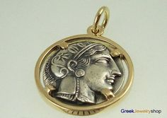 Ancient Greek Coin Jewelry - Athena Tetradrachm originally minted 431-413 BC and depicting the wise owl.