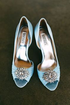 Oh Badgley Mischka, you've done it again with these Pearson blue satin embellished pumps.