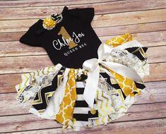 Queen Bee Fabric Tutu Bodysuit/Tee & Headband // First Birthday Outfit // by FlyAwayJo // Buy it now!