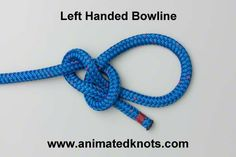 Left-handed bowline -- also known as the Dutch bowline, or cowboy bowline Rope Knots, Tie The Knots, Animated Knots, Scout Knots, Sailing Knots, Bowline Knot, Survival Knots, Knots Guide, Overhand Knot