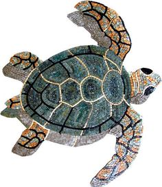 Sea Turtle Marble Mosaic Outdoor Decor by Mozaico on Etsy, $300.00