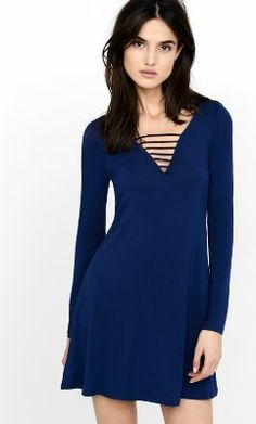 ladder v-neck long sleeve trapeze dress from EXPRESS