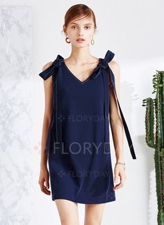 Dresses - $80.77 - Polyester Solid Sleeveless Mini Casual Dresses (1955107501)