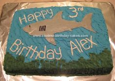 Homemade Shark Birthday Cake: My 3 year loves sharks and since I was not able to find a shark cake pan I decided to get creative and make a shark birthday cake of my own. I did find